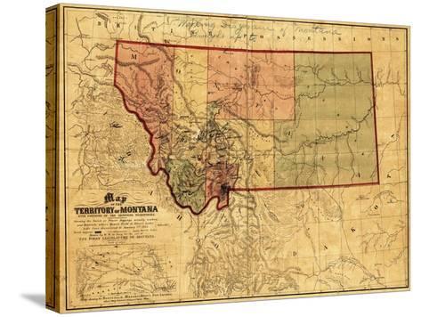 Montana - Panoramic Map-Lantern Press-Stretched Canvas Print