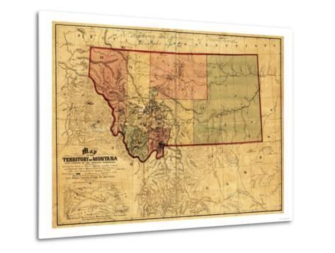 Montana - Panoramic Map-Lantern Press-Metal Print