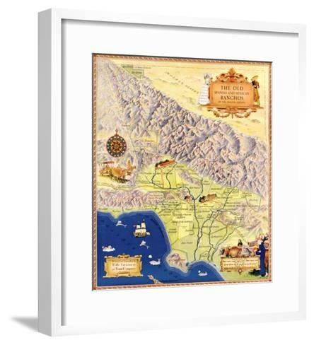 Spanish and Mexican Ranchos of Los Angeles - Panoramic Map-Lantern Press-Framed Art Print