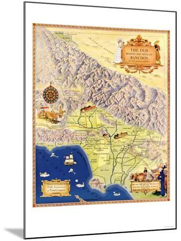 Spanish and Mexican Ranchos of Los Angeles - Panoramic Map-Lantern Press-Mounted Art Print