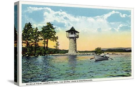 Lake Winnipesaukee, Maine - View of the Spindle Point Observatory, the Weirs-Lantern Press-Stretched Canvas Print
