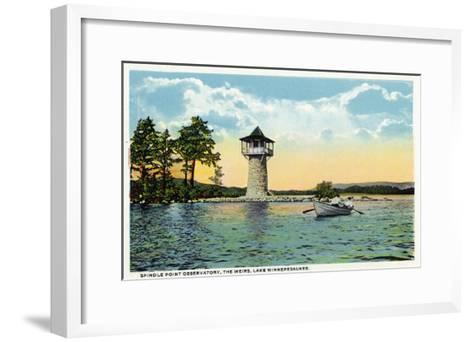 Lake Winnipesaukee, Maine - View of the Spindle Point Observatory, the Weirs-Lantern Press-Framed Art Print