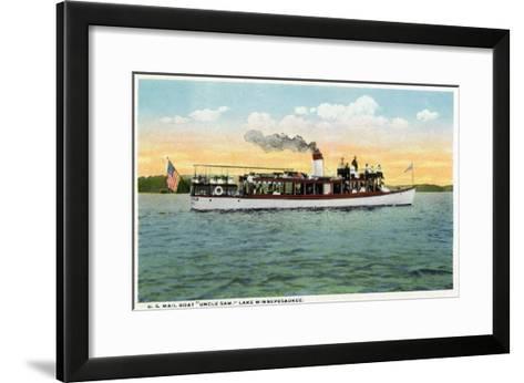 Lake Winnipesaukee, Maine - View of the US Mail Boat Uncle Sam-Lantern Press-Framed Art Print