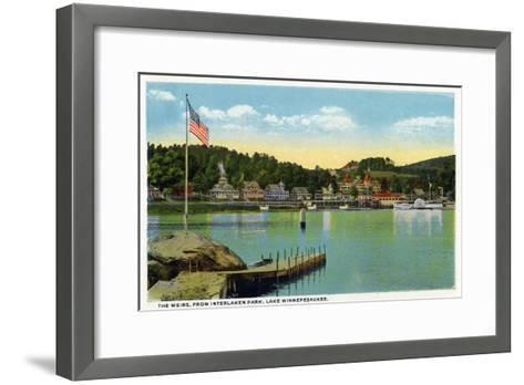 Lake Winnipesaukee, Maine - Interlaken Park View of the Weirs-Lantern Press-Framed Art Print
