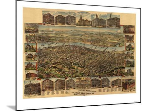 Oregon - Map of Portland-Lantern Press-Mounted Art Print