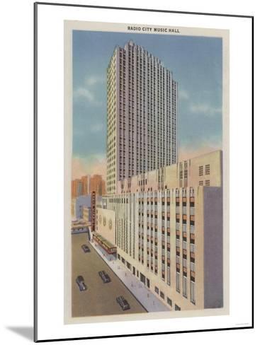 New York, NY - Radio City Music Hall Exterior View-Lantern Press-Mounted Art Print