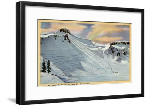 Mt. Baker, Washington - View of Mt. Baker Ski Course on Table Mt.-Lantern Press-Framed Art Print