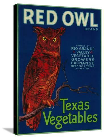 Mercedes, Texas - Red Owl Vegetable Label-Lantern Press-Stretched Canvas Print