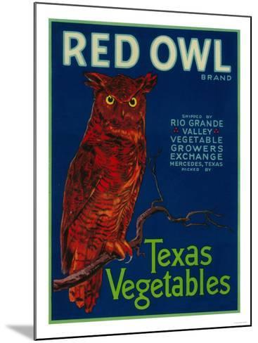 Mercedes, Texas - Red Owl Vegetable Label-Lantern Press-Mounted Art Print