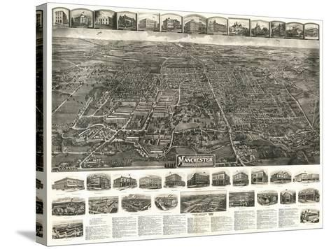 Manchester, Connecticut - Panoramic Map-Lantern Press-Stretched Canvas Print