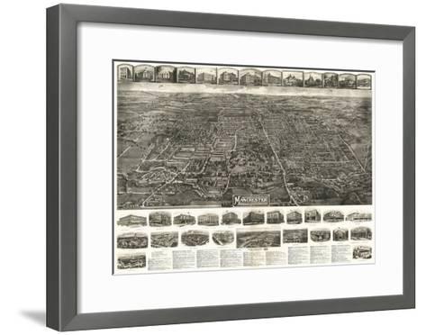 Manchester, Connecticut - Panoramic Map-Lantern Press-Framed Art Print