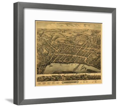 Middletown, Connecticut - Panoramic Map-Lantern Press-Framed Art Print