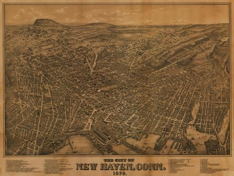 New Haven, Connecticut - Panoramic Map-Lantern Press-Stretched Canvas Print