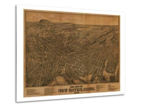 New Haven, Connecticut - Panoramic Map-Lantern Press-Metal Print