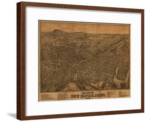 New Haven, Connecticut - Panoramic Map-Lantern Press-Framed Art Print