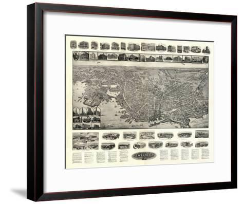 New London, Connecticut - Panoramic Map-Lantern Press-Framed Art Print