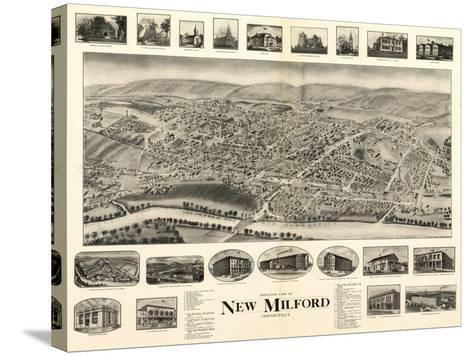 New Milford, Connecticut - Panoramic Map-Lantern Press-Stretched Canvas Print