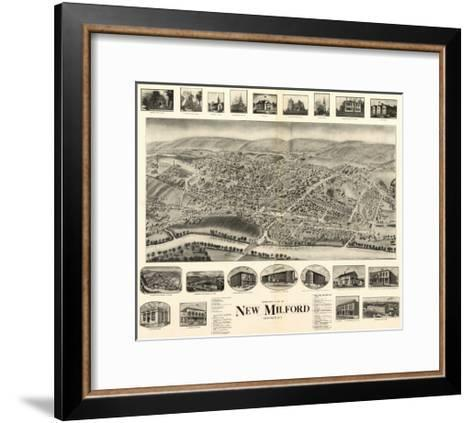 New Milford, Connecticut - Panoramic Map-Lantern Press-Framed Art Print