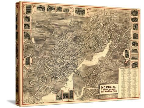 Norwalk, Connecticut - Panoramic Map-Lantern Press-Stretched Canvas Print