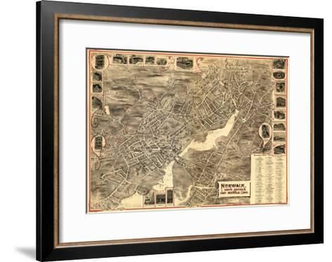 Norwalk, Connecticut - Panoramic Map-Lantern Press-Framed Art Print