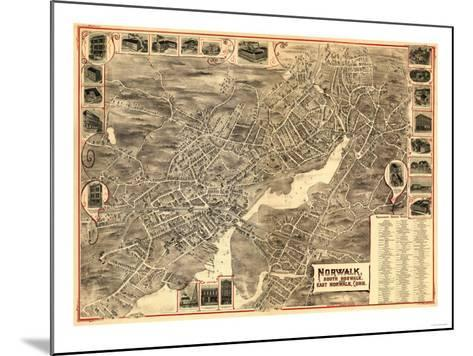 Norwalk, Connecticut - Panoramic Map-Lantern Press-Mounted Art Print