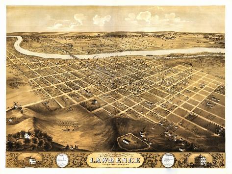 Lawrence, Kansas - Panoramic Map-Lantern Press-Stretched Canvas Print