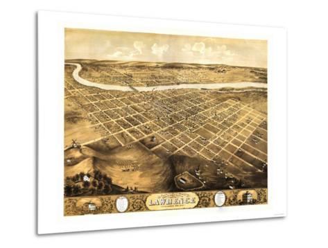 Lawrence, Kansas - Panoramic Map-Lantern Press-Metal Print