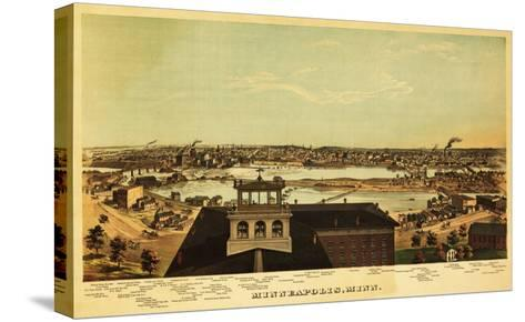 Minneapolis, Minnesota - Panoramic Map-Lantern Press-Stretched Canvas Print
