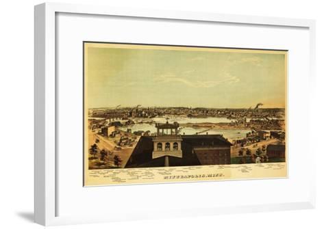 Minneapolis, Minnesota - Panoramic Map-Lantern Press-Framed Art Print