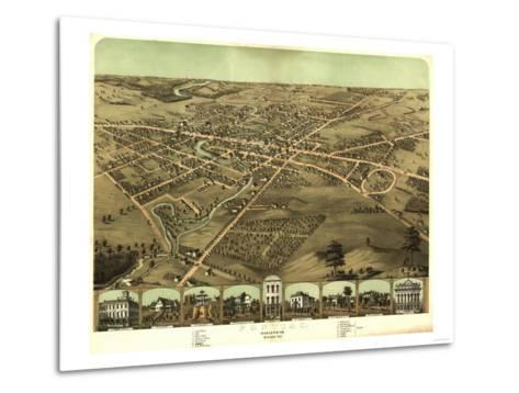Pontiac, Michigan - Panoramic Map-Lantern Press-Metal Print