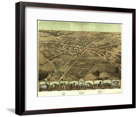 Pontiac, Michigan - Panoramic Map-Lantern Press-Framed Art Print