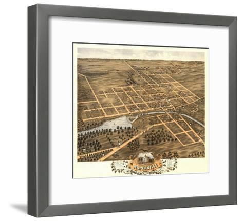 Naperville, Illinois - Panoramic Map-Lantern Press-Framed Art Print