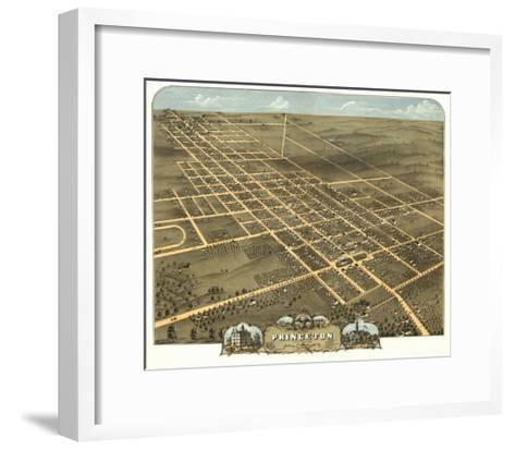 Princeton, Illinois - Panoramic Map-Lantern Press-Framed Art Print