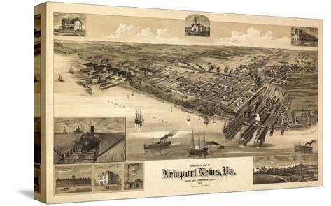 Newport News, Virginia - Panoramic Map-Lantern Press-Stretched Canvas Print