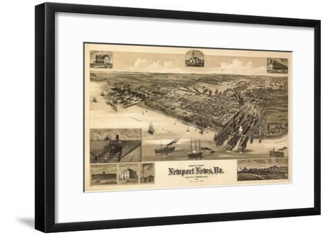 Newport News, Virginia - Panoramic Map-Lantern Press-Framed Art Print