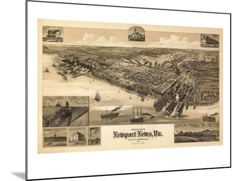 Newport News, Virginia - Panoramic Map-Lantern Press-Mounted Art Print