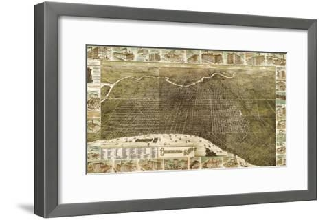 Philadelphia, Pennsylvania - Panoramic Map-Lantern Press-Framed Art Print