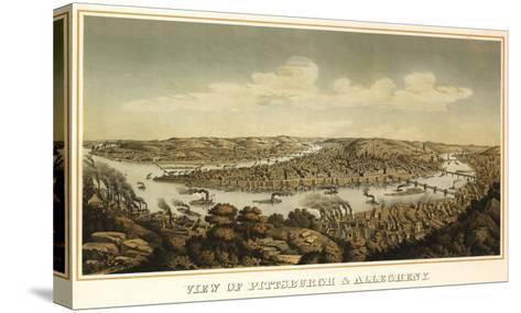 Pittsburgh, Pennsylvania - Panoramic Map-Lantern Press-Stretched Canvas Print