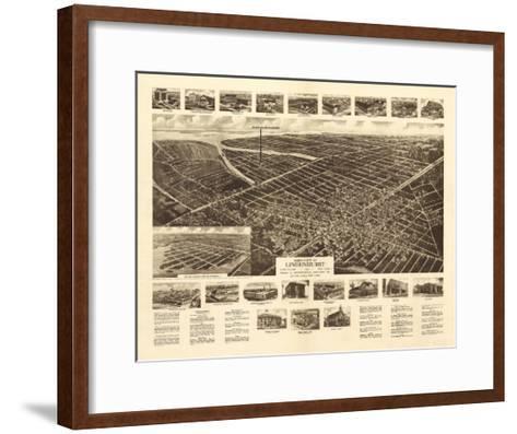 Lindenhurst, New York - Panoramic Map-Lantern Press-Framed Art Print
