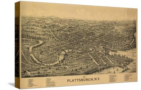 Plattsburgh, New York - Panoramic Map-Lantern Press-Stretched Canvas Print