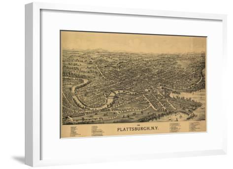 Plattsburgh, New York - Panoramic Map-Lantern Press-Framed Art Print