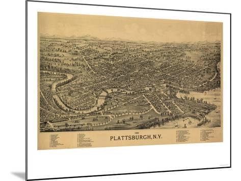 Plattsburgh, New York - Panoramic Map-Lantern Press-Mounted Art Print