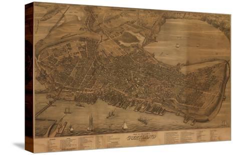 Portland, Maine - Panoramic Map-Lantern Press-Stretched Canvas Print