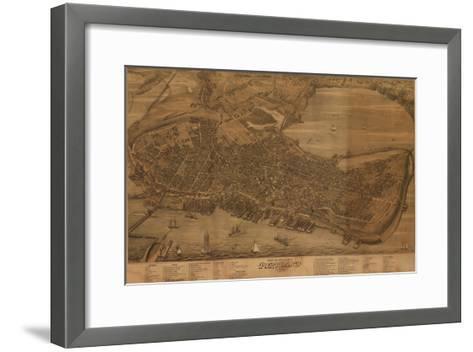 Portland, Maine - Panoramic Map-Lantern Press-Framed Art Print
