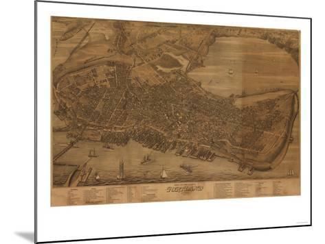 Portland, Maine - Panoramic Map-Lantern Press-Mounted Art Print