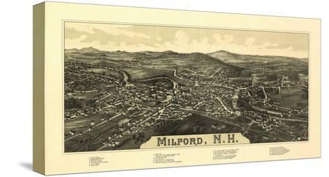 Milford, New Hampshire - Panoramic Map-Lantern Press-Stretched Canvas Print