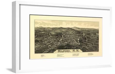 Milford, New Hampshire - Panoramic Map-Lantern Press-Framed Art Print