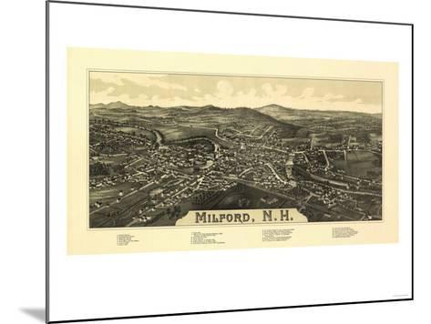 Milford, New Hampshire - Panoramic Map-Lantern Press-Mounted Art Print