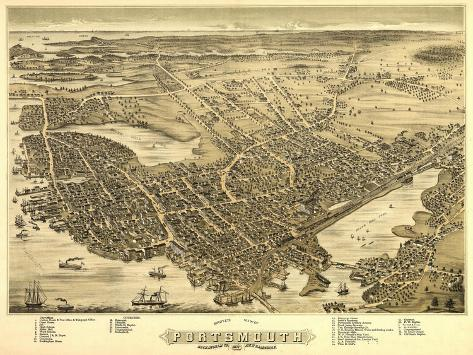 Portsmouth, New Hampshire - Panoramic Map-Lantern Press-Stretched Canvas Print