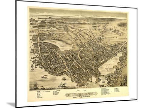 Portsmouth, New Hampshire - Panoramic Map-Lantern Press-Mounted Art Print